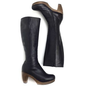 Coclico Nell tall leather wood clog heel boot